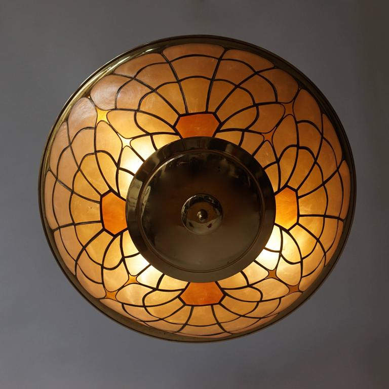 Mid-Century Modern Brass Flush Mount or Wall Sconce For Sale