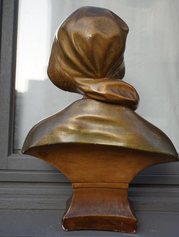 Art Deco Bust of a Woman in Plaster For Sale