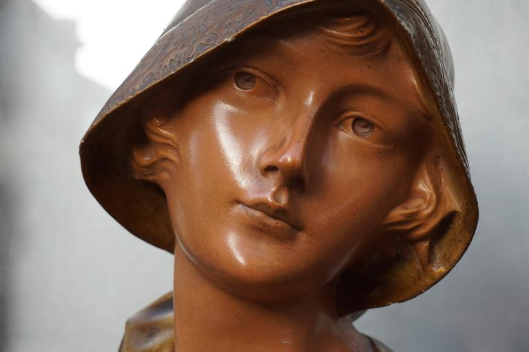 20th Century Bust of a Woman in Plaster For Sale