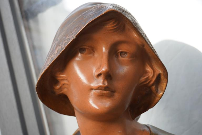 French Bust of a Woman in Plaster For Sale