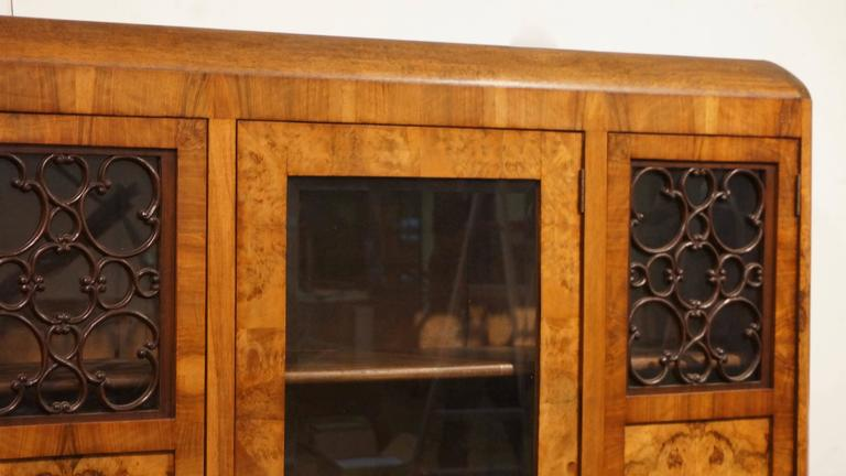 Walnut Art Deco Three-Door Armoire, circa 1930 For Sale