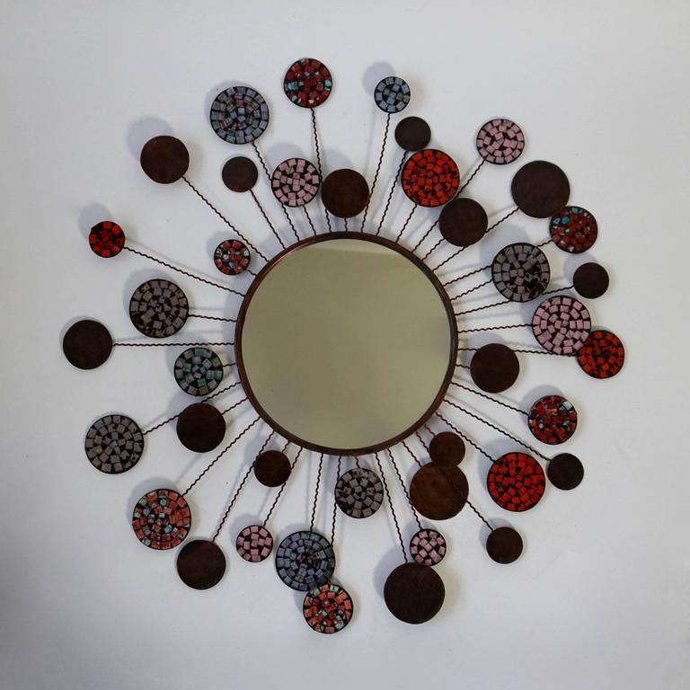 Belgian Ceramic Mirror For Sale