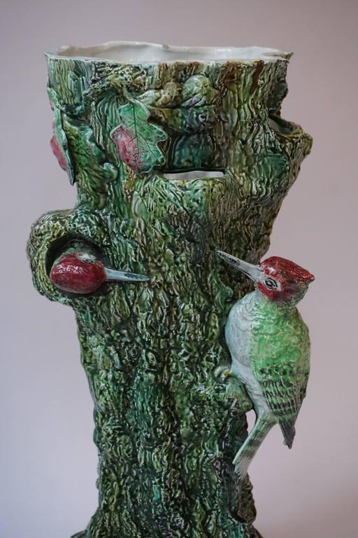 Mid-Century Modern Majolica Vase or Umbrella Stand with Birds For Sale