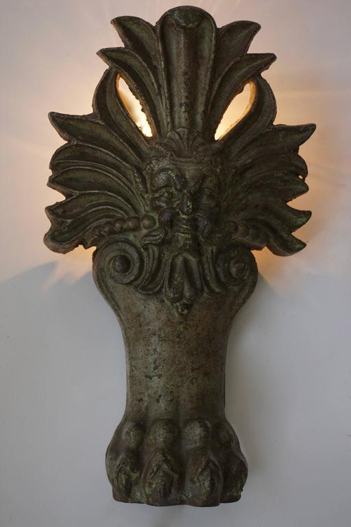 Belgian Pair of Wall Lights with Lion Claws For Sale