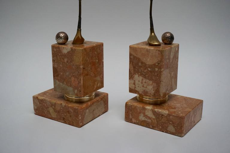 Italian Pair of Marble Bookends Representing the Sport Golf For Sale