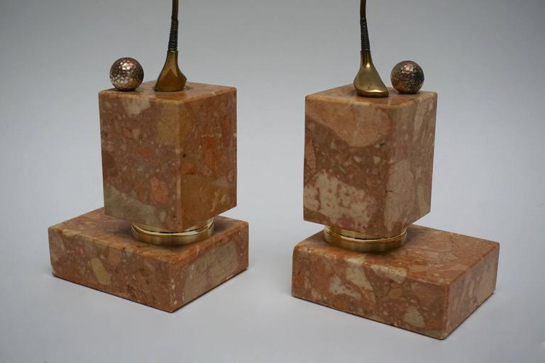 Bronze Pair of Marble Bookends Representing the Sport Golf For Sale