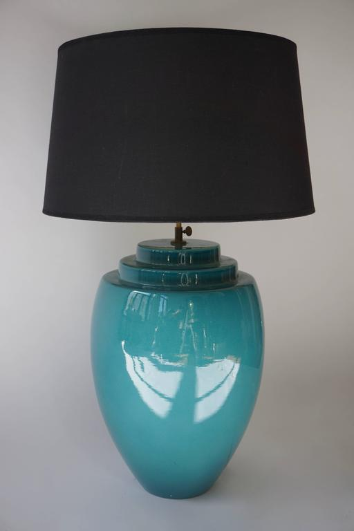 Ceramic table lamp or floor lamp. Height ceramic base 45 cm. Diameter base 32 cm. Total height with shade 80 cm. Diameter: shade 48 cm. Shade is not included in the price.