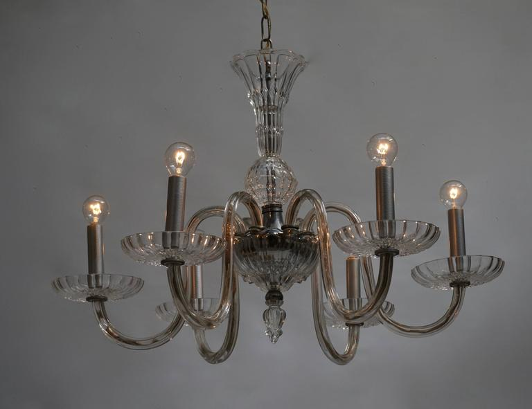 Venetian glass chandelier with six arms.