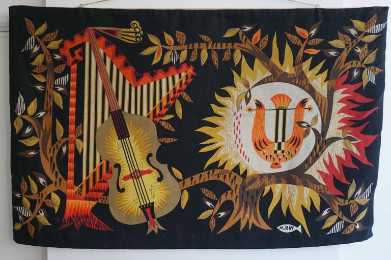 Hand printed woolen tapestries by Michele Ray, France, 1960s.