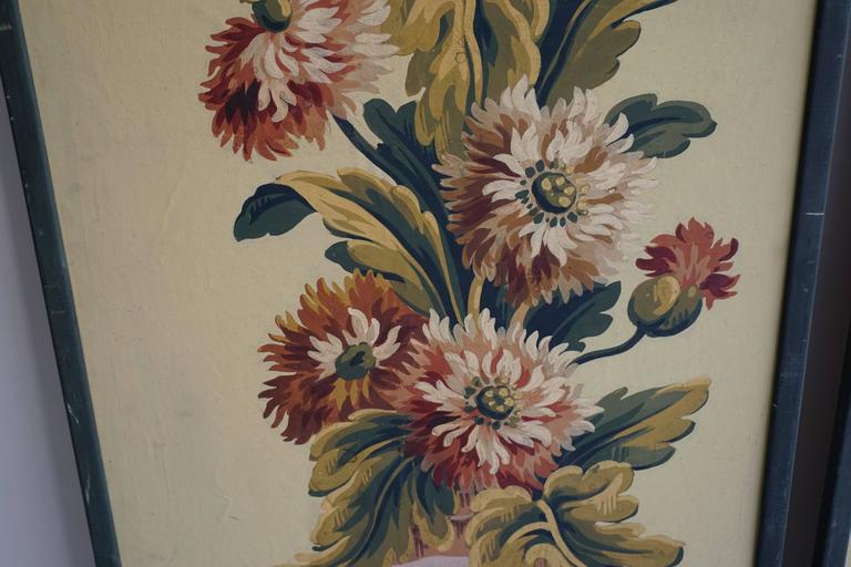 Mid-Century Modern One of Two Framed French Painted Paper Panels For Sale