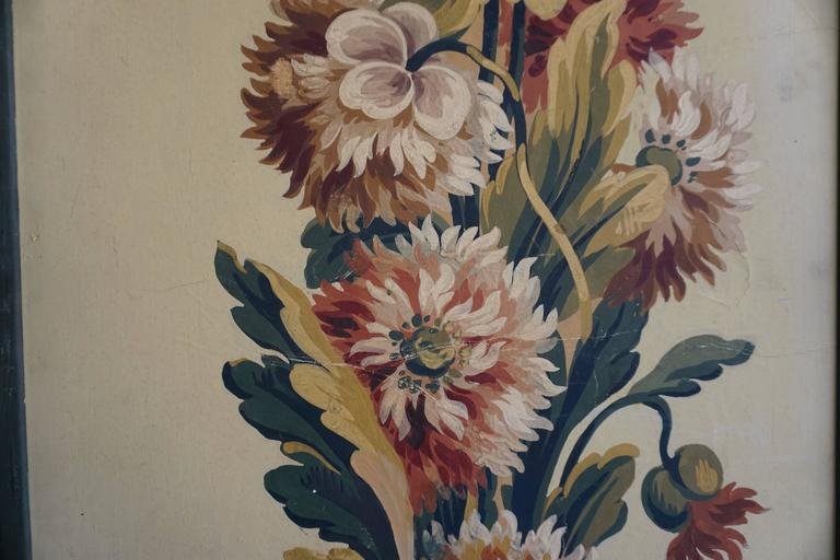 One of Two Framed French Painted Paper Panels In Good Condition For Sale In Antwerp, BE