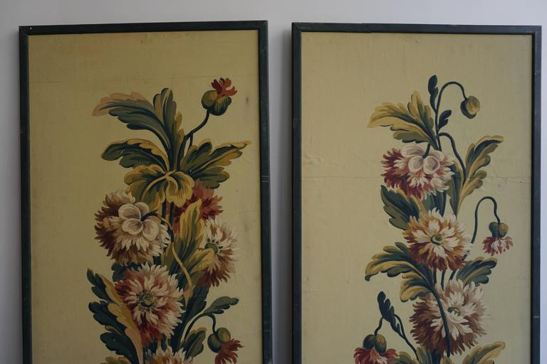 20th Century One of Two Framed French Painted Paper Panels For Sale
