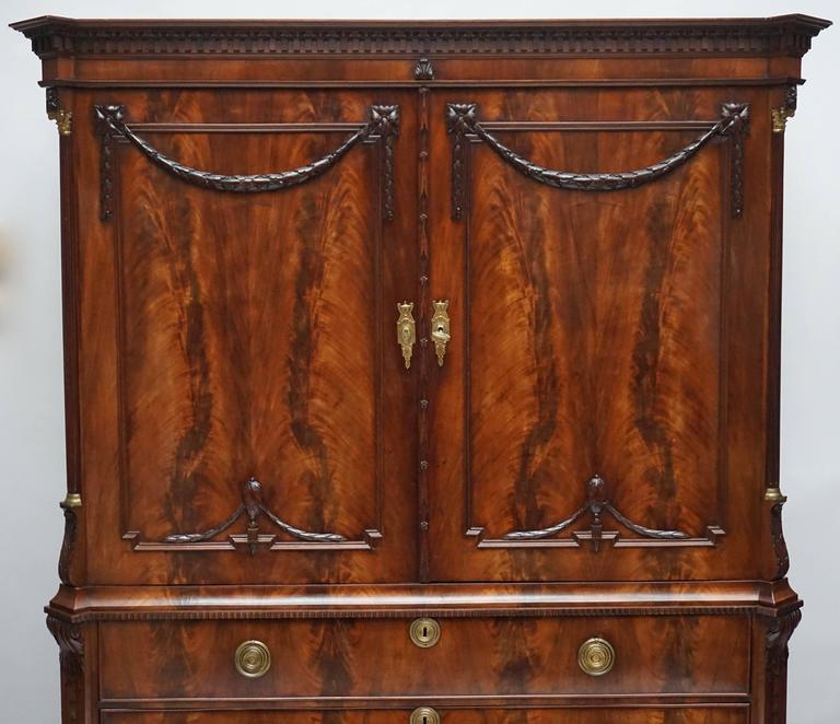 Magnificent 18th Century Mahogany Neoclassical Dutch Cabinet 4