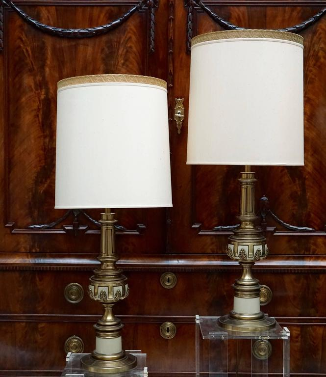Two Italian table lights.  Height with shade: 100 cm. Diameter shade: 40cm. Height without shade: 71 cm. Diameter base: 20 cm. Weight 8 kg for each light.  Price without shade.
