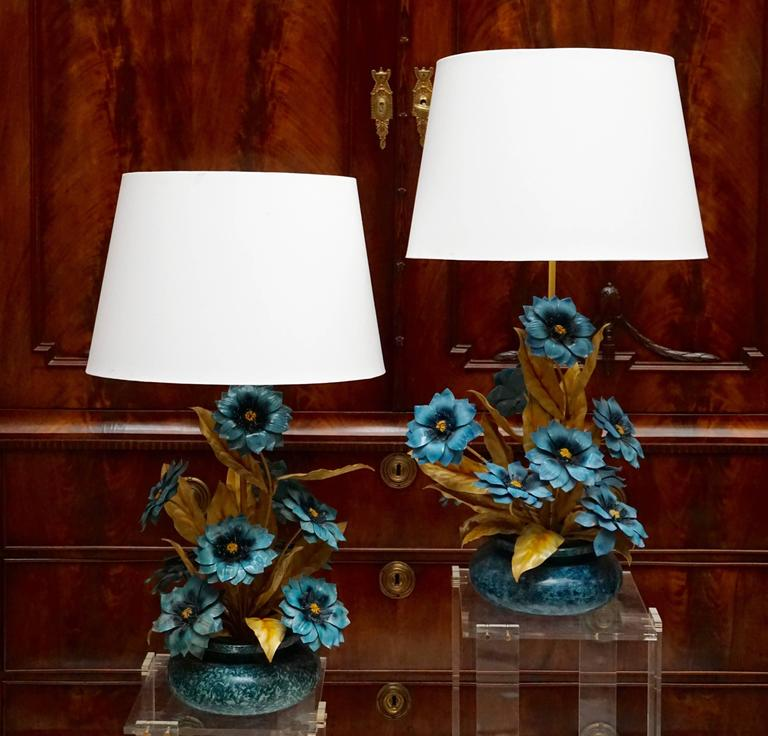 Set of three metal painted flower table lamps. Diameter base: 37 cm. Height base 64 cm. Height with shade 84 cm. Diameter shade 58 cm. Lamp shades are not included in the price.
