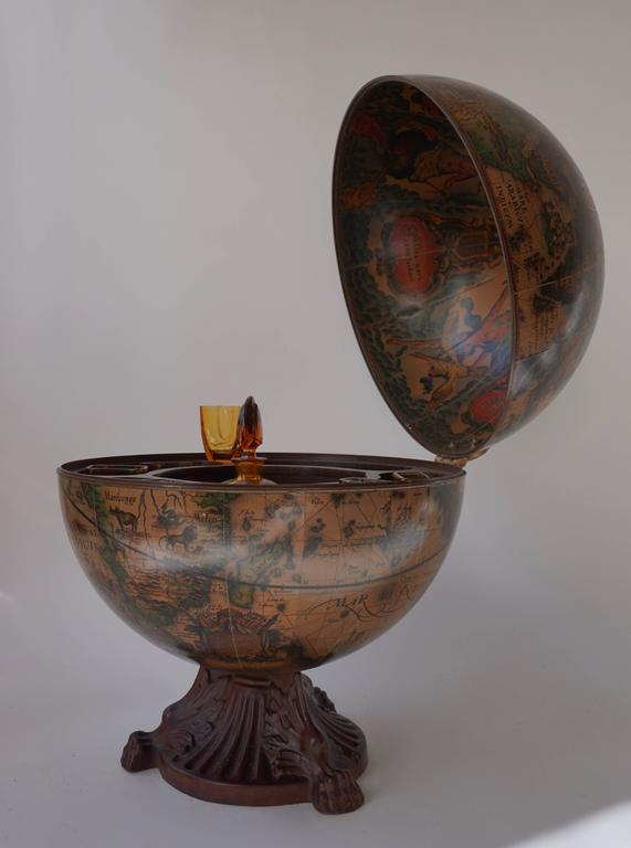 Italian World Globe Dry Bar, circa 1960s In Good Condition For Sale In Antwerp, BE