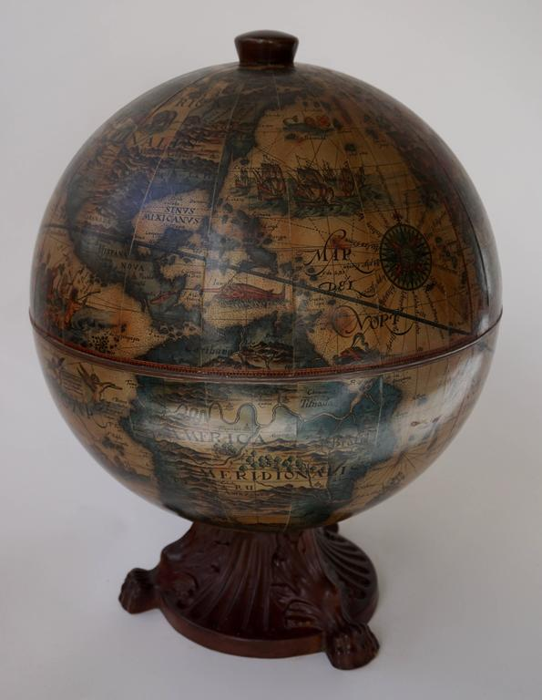 Acrylic Italian World Globe Dry Bar, circa 1960s For Sale