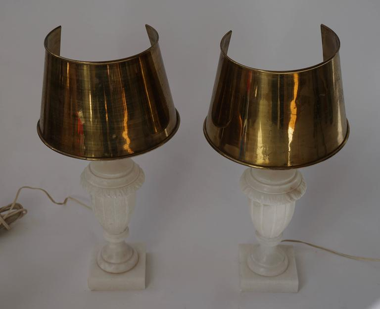 Mid-Century Modern Pair of Alabaster and Copper Table Lamps For Sale