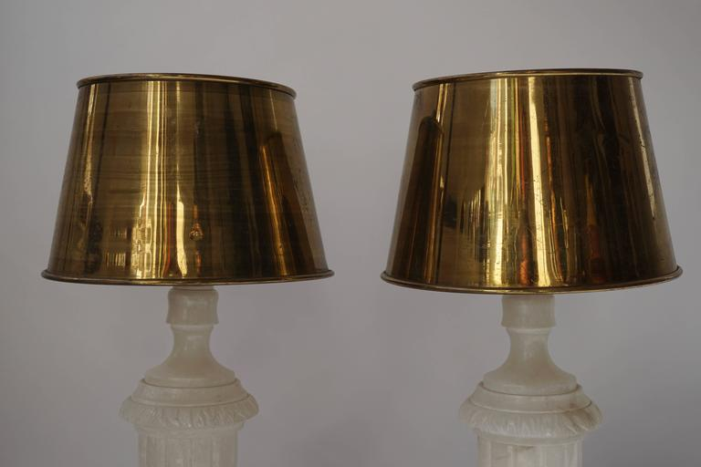 Italian Pair of Alabaster and Copper Table Lamps For Sale
