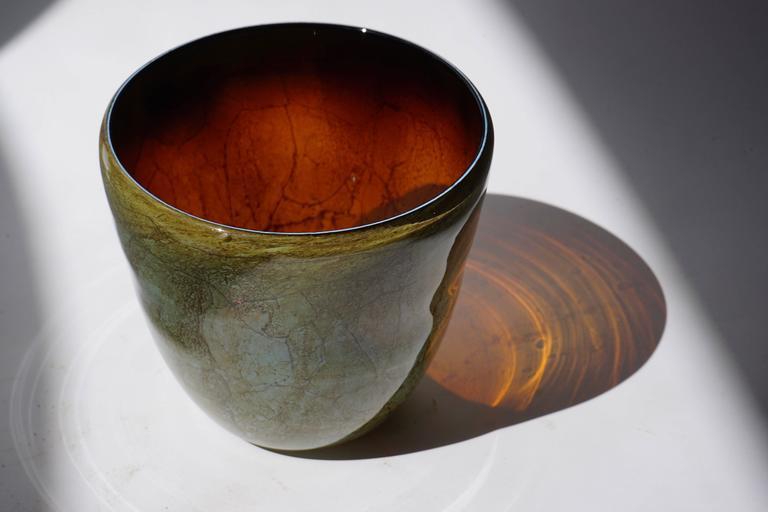 Italian Murano glass vase. Measures: Diameter 22 cm. Height 21 cm.