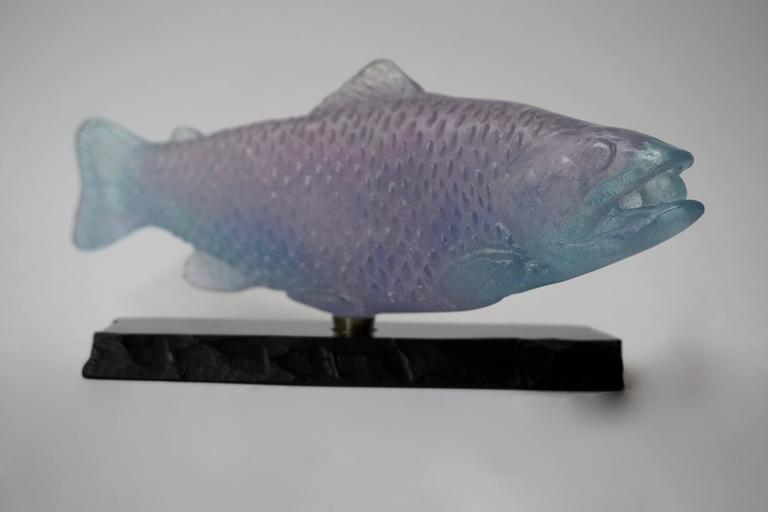 Mid-Century Modern Sculpture of a Fish on Marble by Daum For Sale