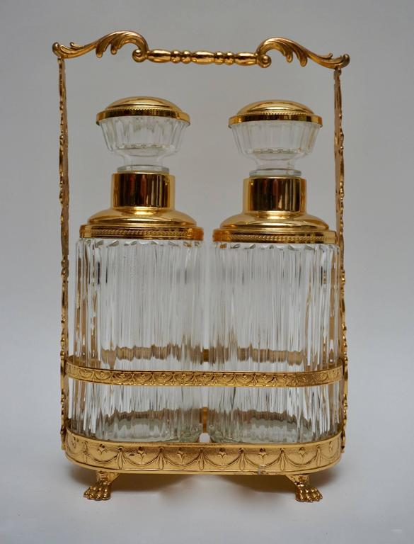 A terrific pair of cut crystal liquor decanters or cocktail bar bottles.  Measures: Height 32 cm.