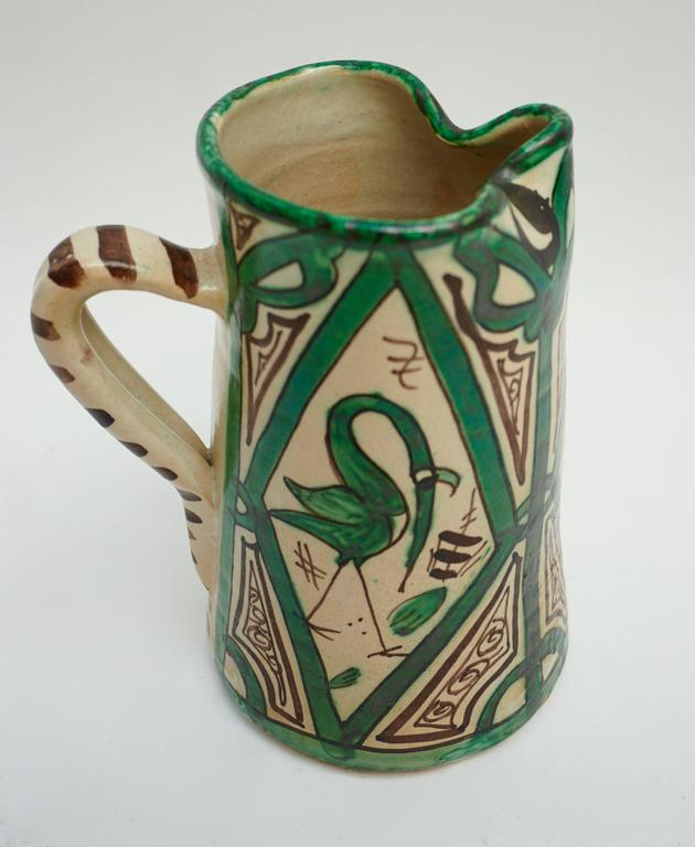 Spanish Ceramic Pitcher, Signed by Domingo Punter For Sale 1