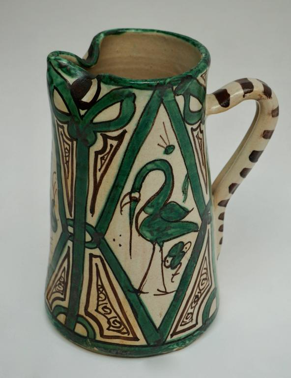 Spanish Ceramic Pitcher, Signed by Domingo Punter For Sale 2