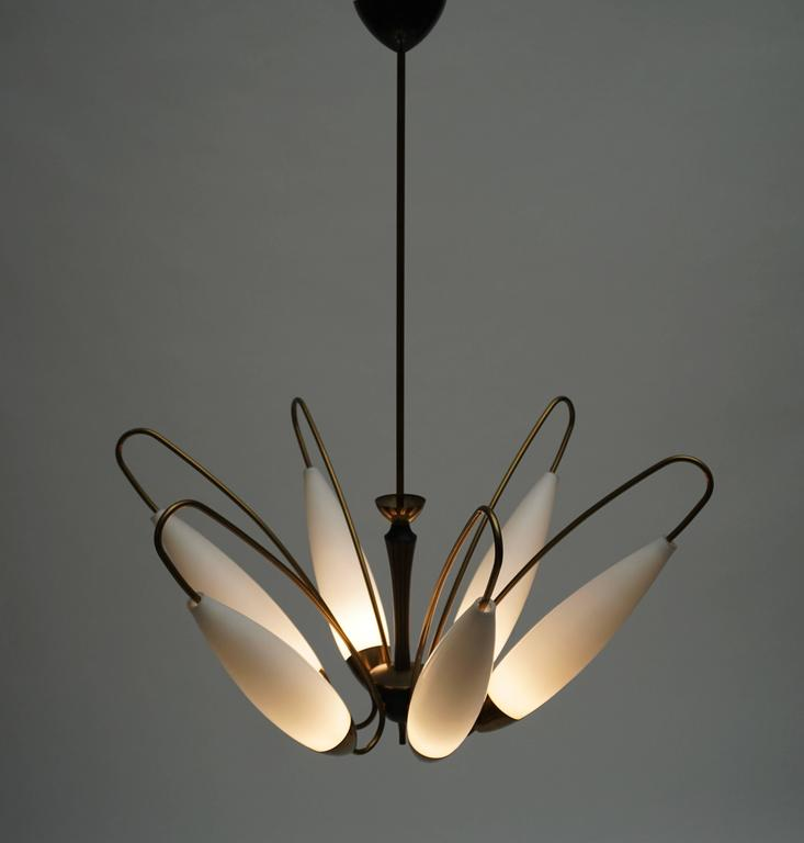 20th Century Four Italian Brass and Opaline Glass Chandeliers For Sale