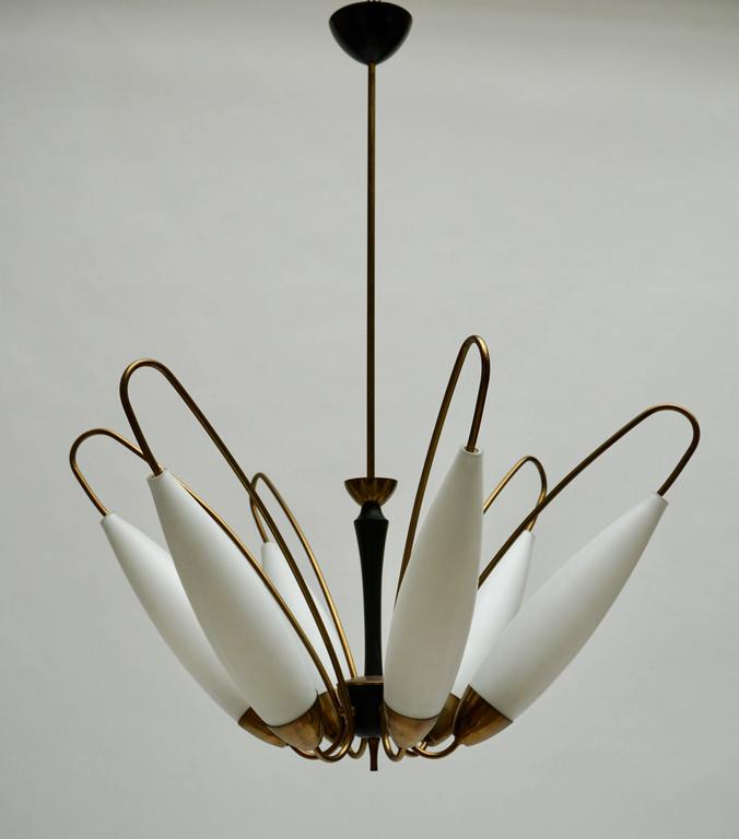 Italian brass and opaline glass chandelier.