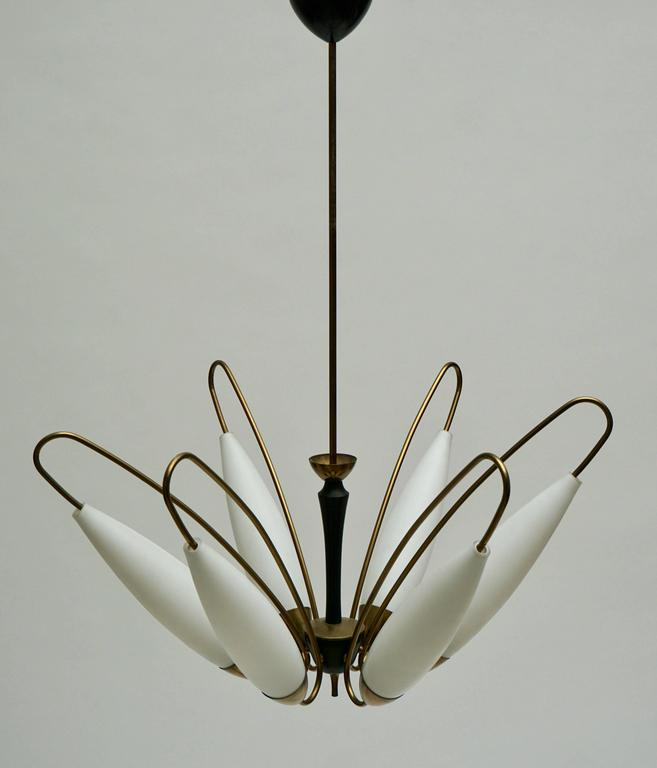 Mid-Century Modern Four Italian Brass and Opaline Glass Chandeliers For Sale