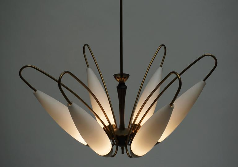 Four Italian Brass and Opaline Glass Chandeliers For Sale 4
