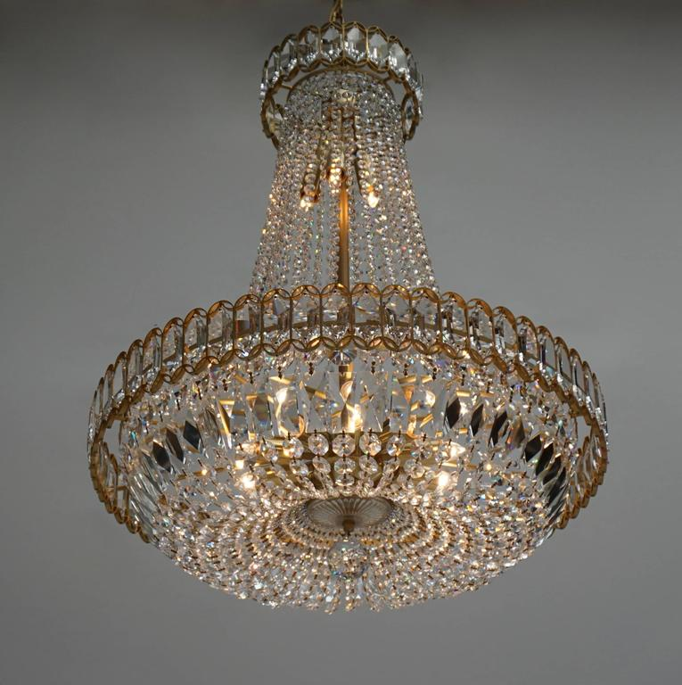 Beautiful crystal and brass chandelier.