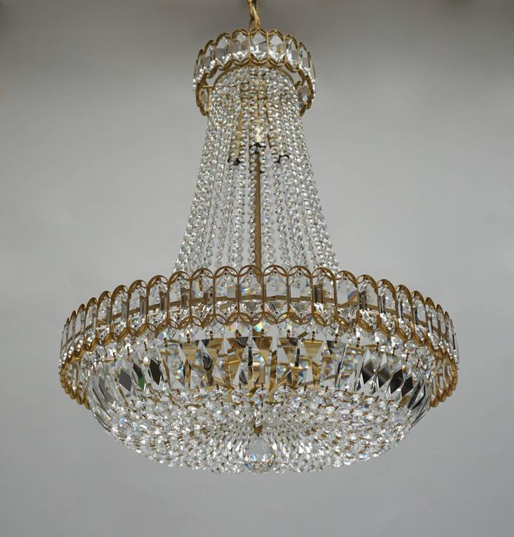 French Crystal and Brass Chandelier For Sale