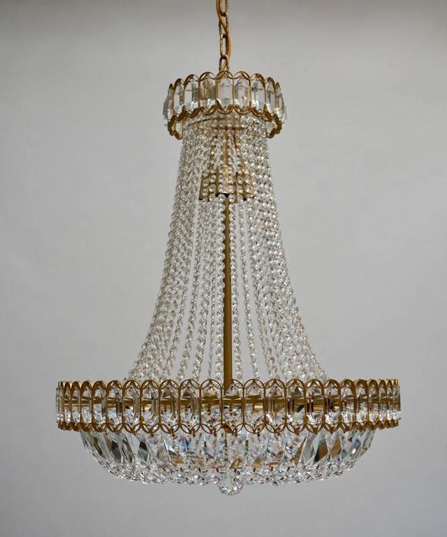 Mid-Century Modern Crystal and Brass Chandelier For Sale