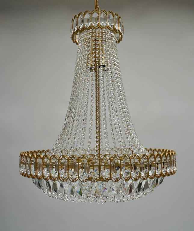 Crystal and Brass Chandelier For Sale 1