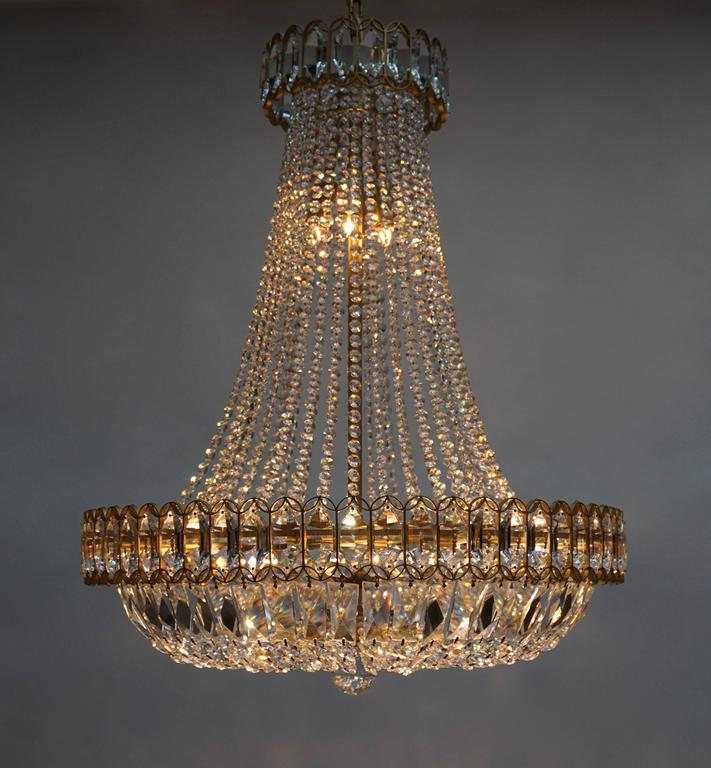Crystal and Brass Chandelier For Sale 2