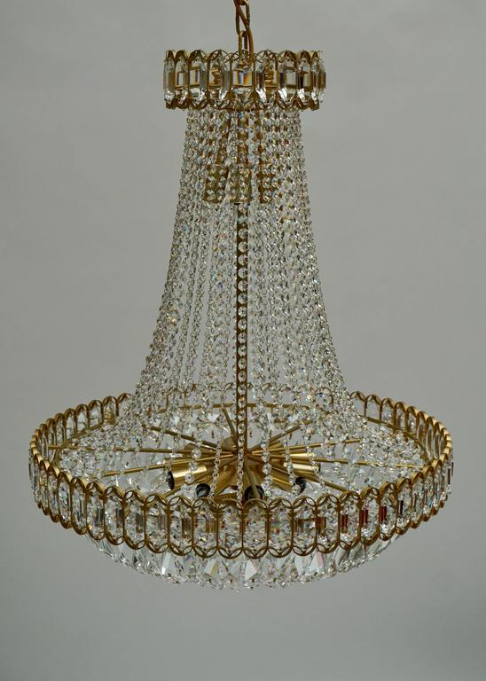 Crystal and Brass Chandelier For Sale 3