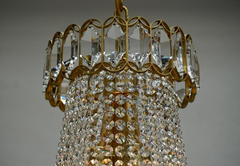 Crystal and Brass Chandelier For Sale 4