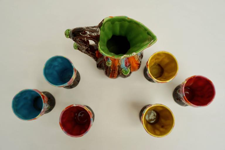 20th Century Vallauris Ceramic Drinking Set For Sale