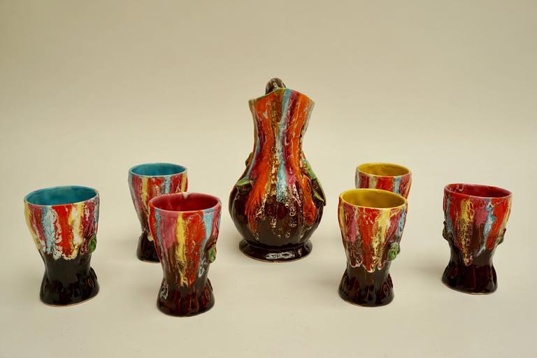 Vallauris Ceramic Drinking Set For Sale 2