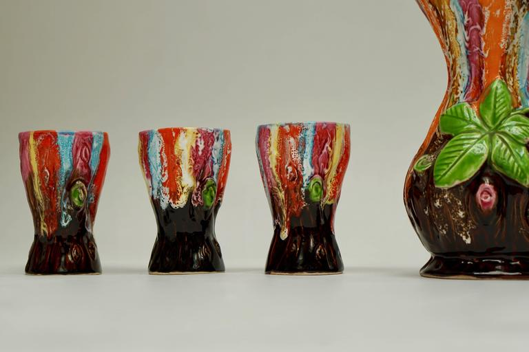 French Vallauris Ceramic Drinking Set For Sale