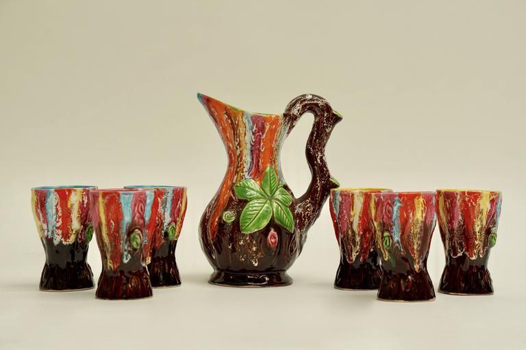 Vallauris Ceramic Drinking Set For Sale 3