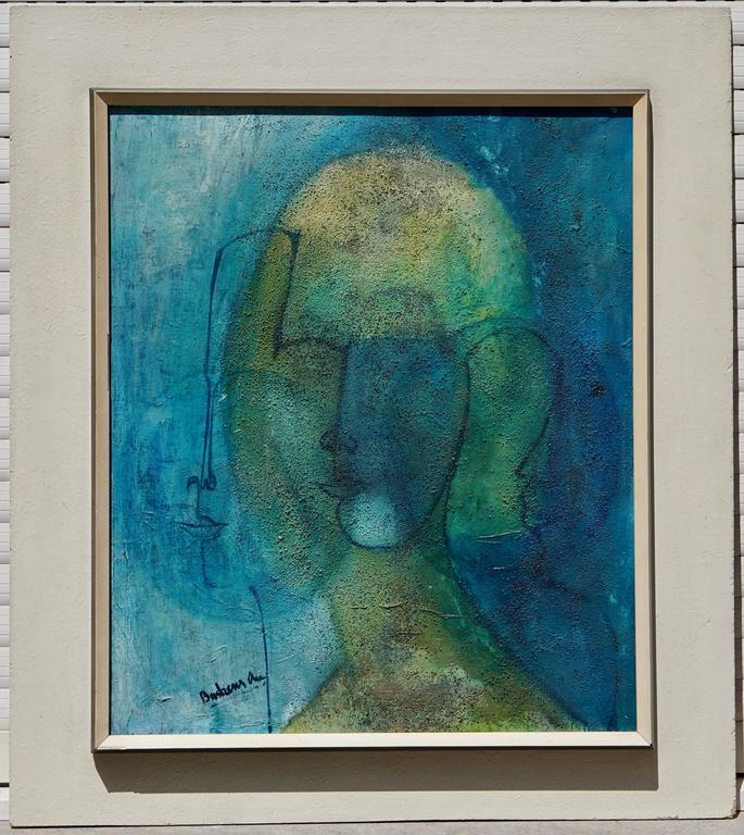 Painting by An Buskens, Belgium, 1965. Dimensions without the frame of the painting: Height 59 cm. Width 50 cm.