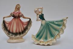 Pair of Signed Figural Dancing Ladies