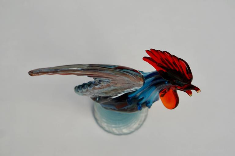 20th Century Italian Murano Handblown Glass Rooster For Sale
