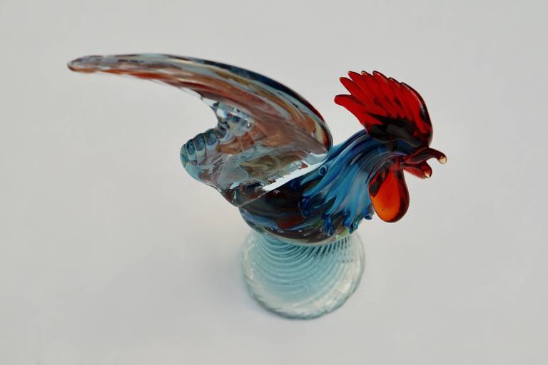 Italian Murano Handblown Glass Rooster For Sale 2