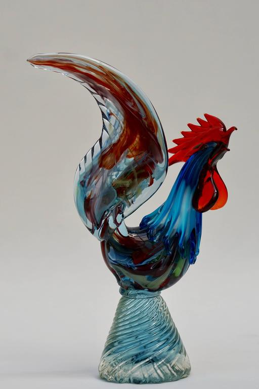 Italian Murano Handblown Glass Rooster For Sale 3