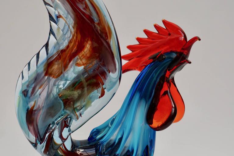 Italian Murano Handblown Glass Rooster For Sale 4