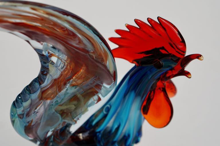 Italian Murano Handblown Glass Rooster For Sale 1